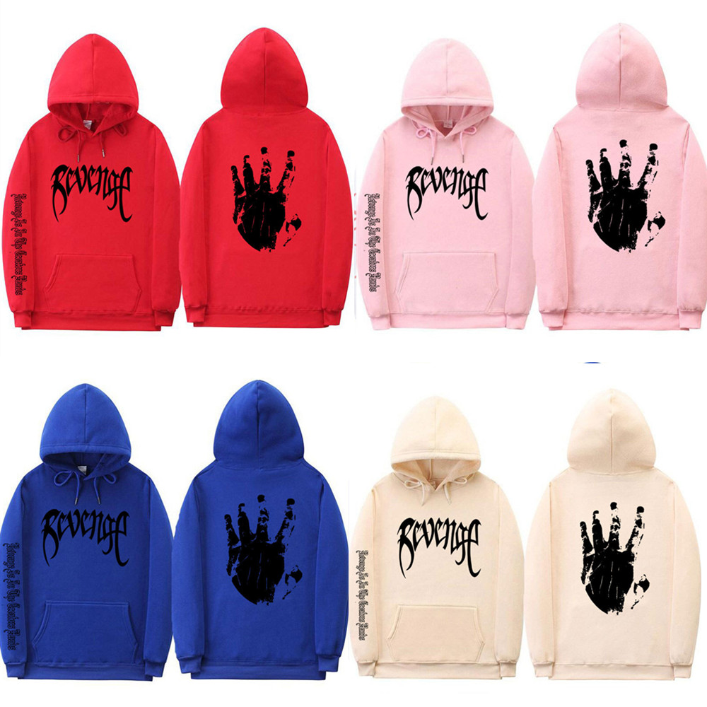 2019 Revenge Letter Print Hoodie Sweatshirts Xxxtentacion Hoodies Sad Rapper Hip Hop Hooded Pullover Swag Cotton Hoody Costumes