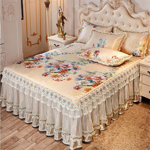 European luxury 3pcs summer cool bedspreads ice bed mat lace skirted bed sheet quality bed cover machine wash free shipping(China)