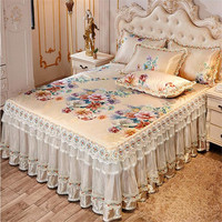 European luxury 3pcs summer cool bedspreads ice bed mat lace skirted bed sheet quality bed cover machine wash free shipping