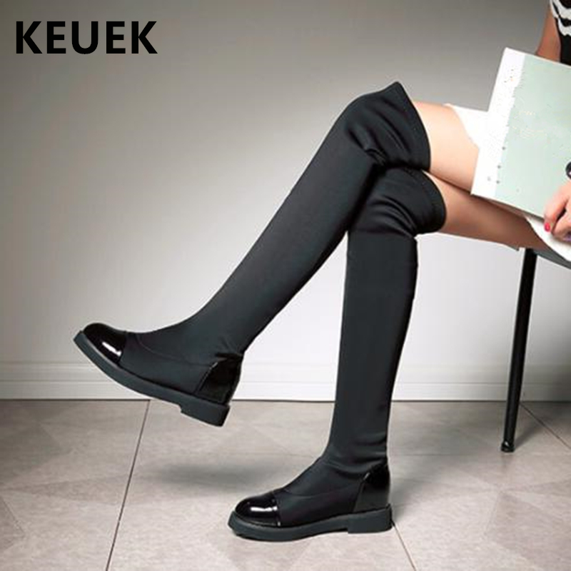 New 2018 Autumn Winter Fashion Knee High Boots High Quality Stretch Fabric Plush Snow Boots Eur