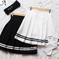 2016 Женщин Четыре сезона Плиссированные мини-юбки Колледж ветер черный и белый Лента лента бой цвет T161162