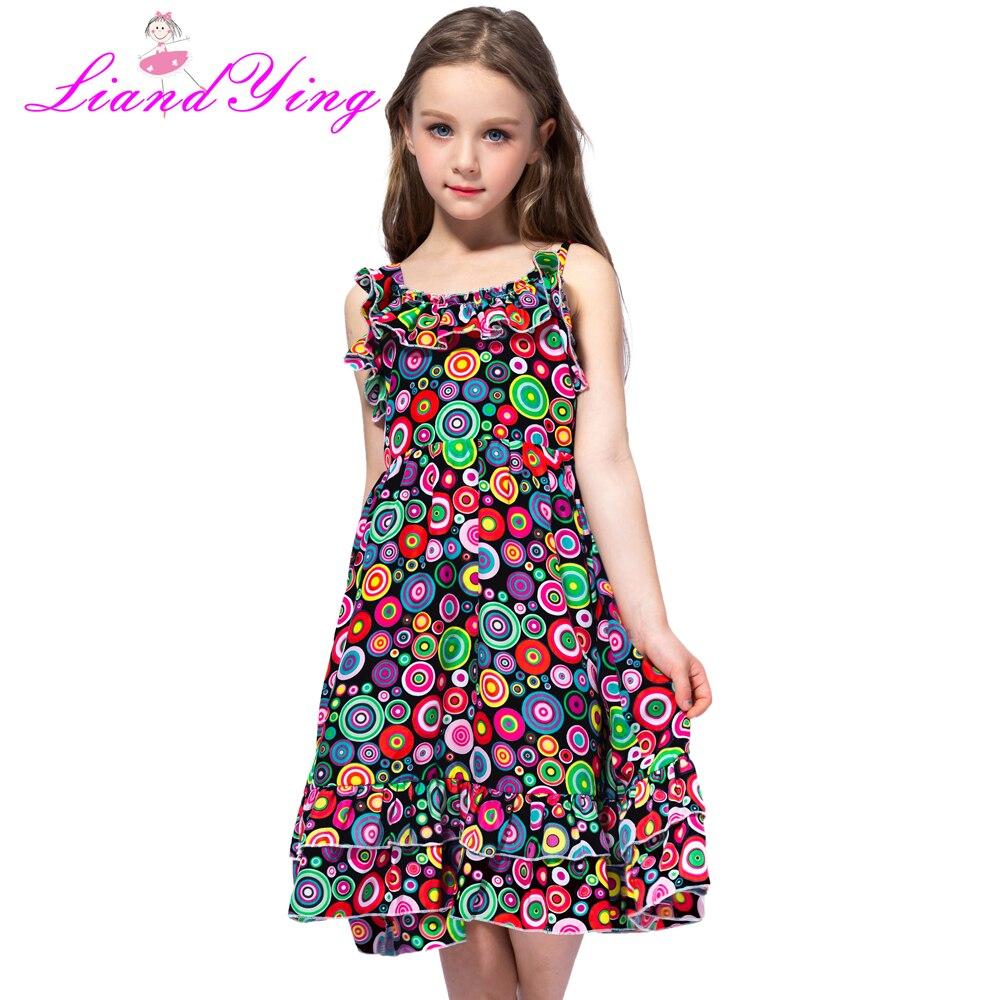 100% True 2018 Summer Female Baby Strap Dress Print Cute Princess Dress Back Girl Dress Dresses