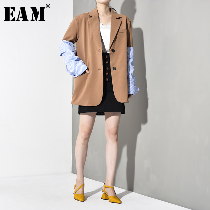 [EAM] Loose Fit Sleeve Blue Striped Contrast Color  Jacket New Lapel Long Sleeve Women Coat Fashion Spring Autumn 2020 JI82504