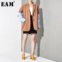 [EAM] Loose Fit Sleeve Blue Striped Contrast Color  Jacket New Lapel Long Sleeve Women Coat Fashion Autumn Winter 2019 JI82504