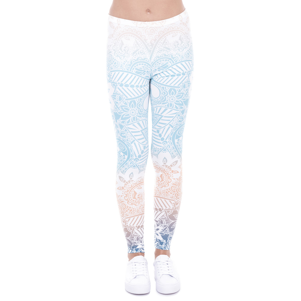 Zohra Brand Hot Sales Leggings Mandala Mint Print Fitness legging High Elasticity Leggins Legins Trouser Pants for women 12