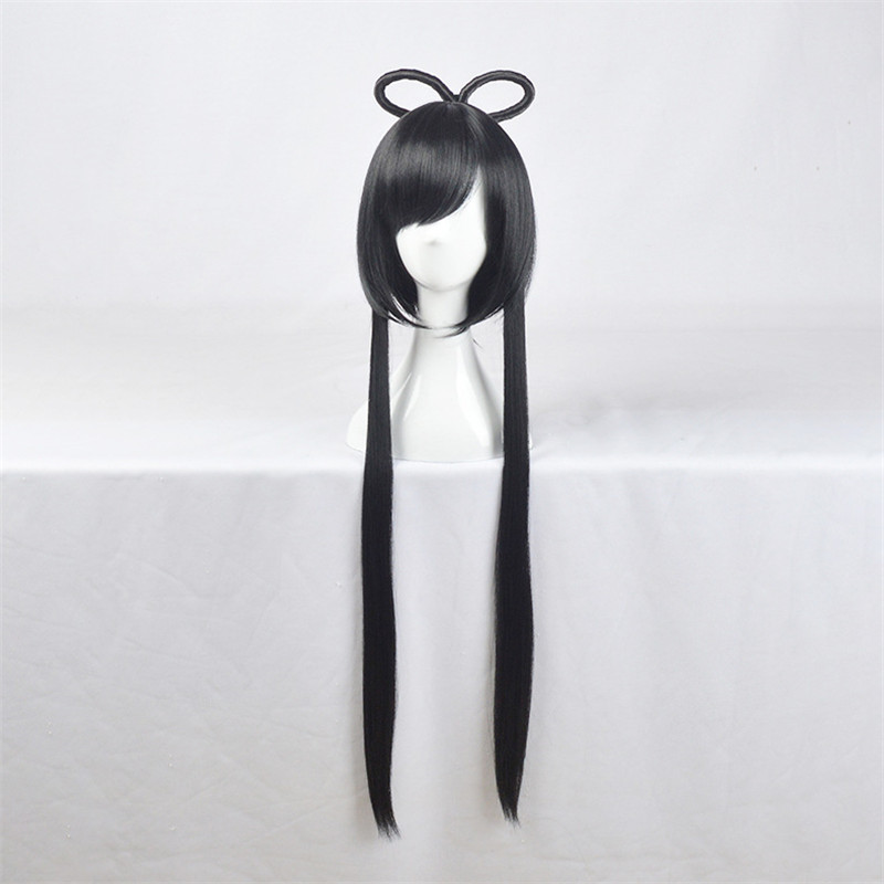 BOOCRE Anime Vocaloid Cosplay Luo Tianyi Wig Costumes Accessories Headwear Black Long Straight Hair