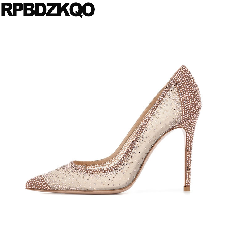 high <font><b>heels</b></font> <font><b>sexy</b></font> women <font><b>shoes</b></font> rhinestones crystal lace diamond pointed toe <font><b>2018</b></font> dress pumps size 4 34 new prom 3 inch stiletto image