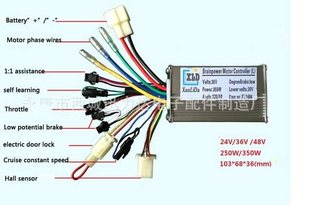 24V 36V 48V 250W 350W brushless 6 mosfet hub motor controller for