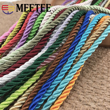 Meetee 10M 5mm 3 Shares Twisted Cotton Nylon Cords Colorful DIY Craft Braided Decoration Rope Drawstring Belt Accessories AP477