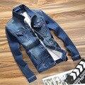 2017 весной новый джинсовые куртки куртка мужчин Slim джинсы стрейч clothing куртки с длинными рукавами