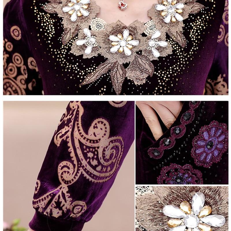 Sportsing Autumn Women Casual purple Red Sportswear Suit black Sets Purple Set aged Embroidery Velvet 2 Middle navy 5xl Plus Gold Size Clothing Yagenz Piece 5pn4w6Sx