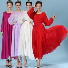 2015 yeni geliş womens O-Boyun Yaz şifon uzun kollu mizaç uzun elbise Maxi elbiseler artı boyutu Bohem seçimi