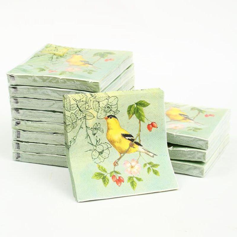 Cocktail Papier Napkins-20pcs 25x25 cm 3-ply vert serviettes en papier pour découpage, oiseau jaune serviette en papier pour wedding-4NC1975B