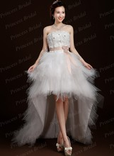 Romantic Wholesale Asymmetrical Wedding Gown Strapless Lace Up Back Tulle High Low Bridal Dress With Handmade Flowers MF527