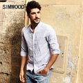 SIMWOOD Hombres Camisa De Marca 2016 Nueva Llegada de La Manera Slim Fit Polka Dot Collar Del Soporte de Manga larga Camisas Casuales Envío Libre CS1515