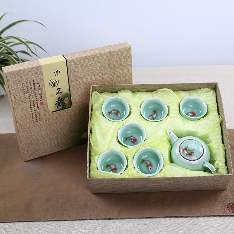 WSHYUFEI Jingdezhen Ceramic Tea Set 7pcs Single Fish Cup Gift Set Company Celebration Gifts for Family