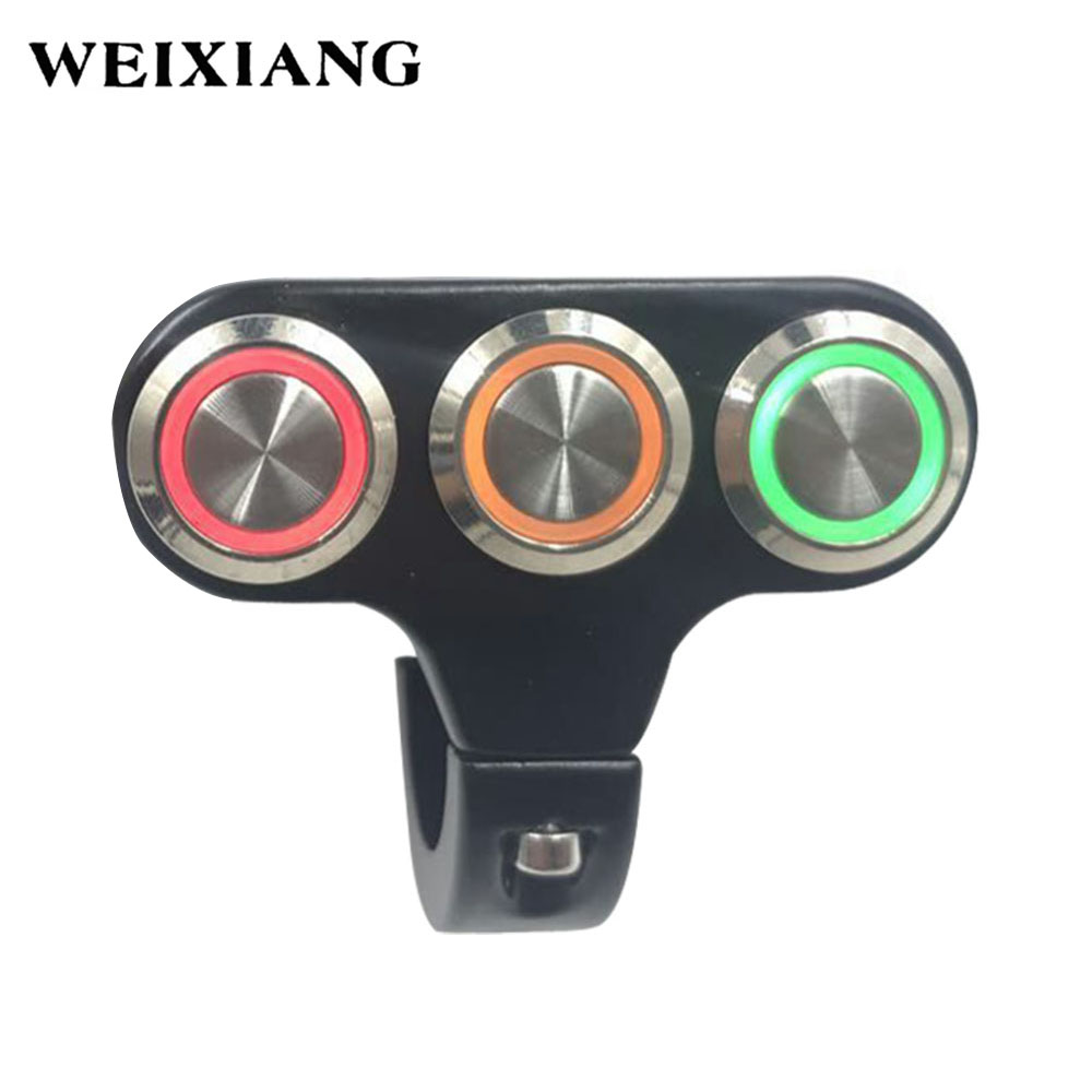 22mm Motorcycle Switches Handlebar Mount Switch For Headlight Fog Light ON OFF High Low Beam Aluminum Alloy With Indicator Light цена