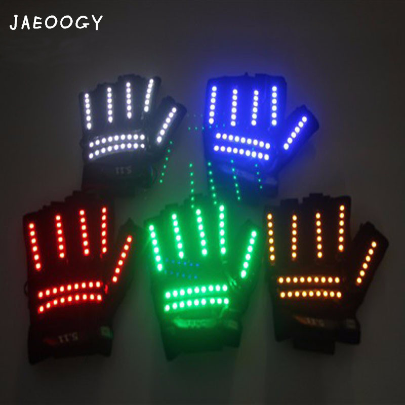 US $35 78 5% OFF|Free shipping 2018 high quality LED luminescent gloves  party birthday party color fluorescent glove bar night store DJ props-in  Party