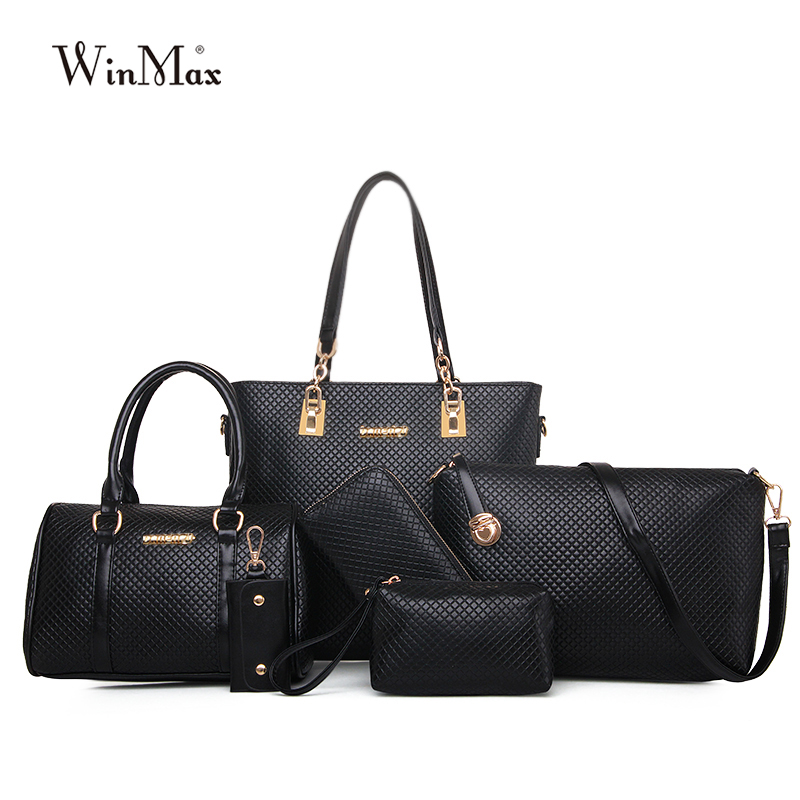 Factory Diamond Lattice Women bags Socialite 6pcs set PU Leather Top-handle Boston Shoulder Bag Fashion Girl Handbag Caual Tote mesh open shoulder side ruched lattice top