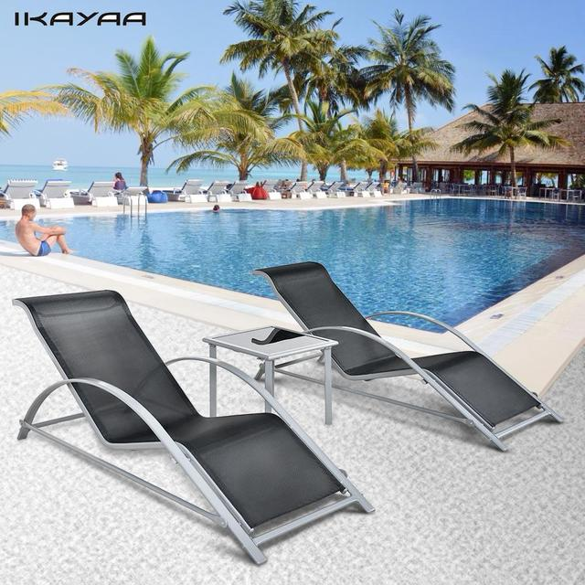 Ikayaa Fashion 3pcs Patio Chaise Lounge Chair Set Furniture Table Outdoor Sun Lounger Iron Construction