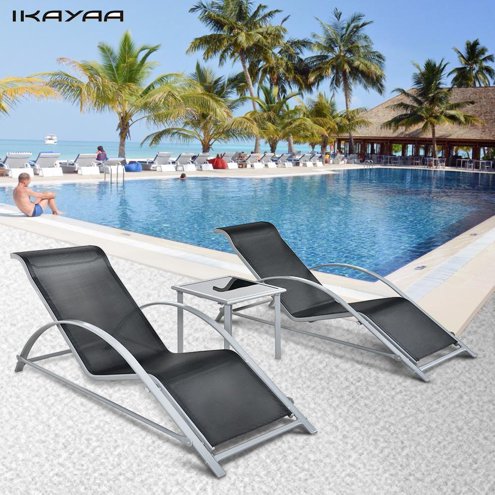 IKayaa Fashion 3PCS Patio Chaise Lounge Chair Set Furniture Table Outdoor  Sun Lounger Set Iron Construction