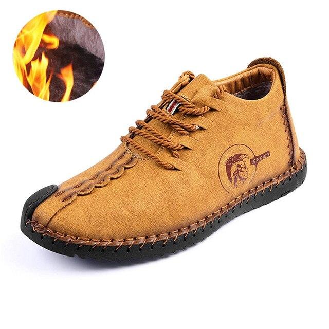 Houden Warme Winter Mannen Schoenen Hoge Kwaliteit Mocassin Split Lederen Casual Mannen Schoenen met Pluche Handgemaakte Fahsion Schoenen maat 38 ~ 47