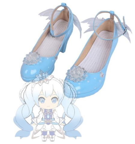 VOCALOID Snow Miku Cosplay Shoes Boots Cosplay Costume Accessories For Women Shoes Custom Made Halloween Party Shoes