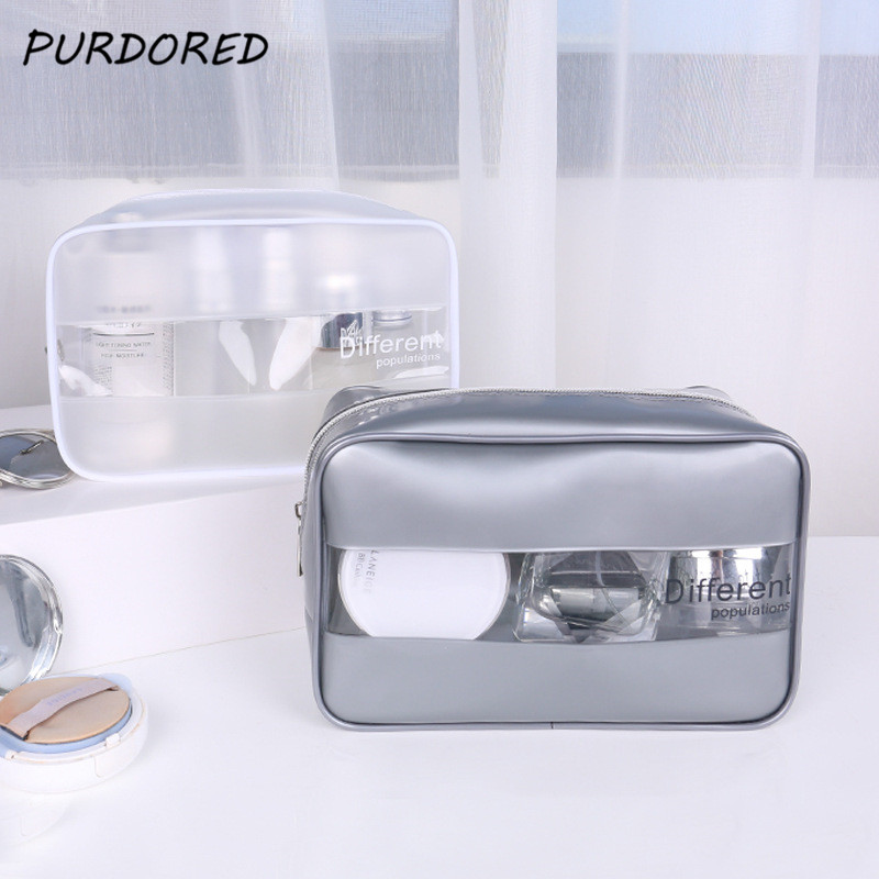 PURDORED  1 Pc Women Clear Cosmetic Bags PU Beauty Case Make Up Bag Large Travel Makeup Organizer Bag Necessaire Feminina