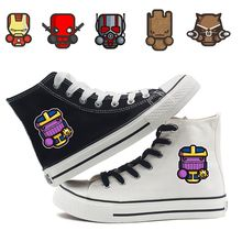 Dibujos Animados Marvel Groot Deadpool Iron Man Ant-Man alto lienzo Uppers zapatillas de deporte estudiante personalizar moda Casual zapatos A193291(China)