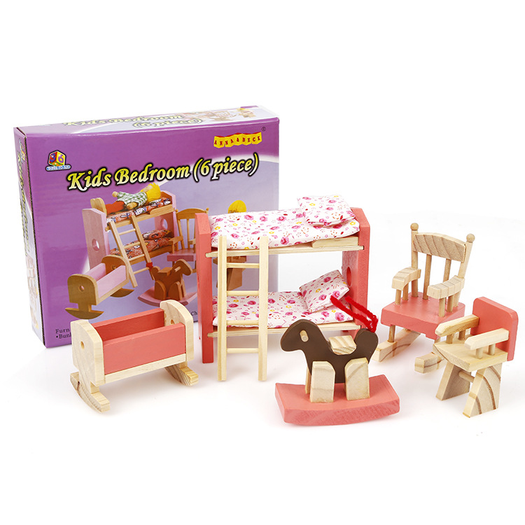 Kids Bedroom Furniture Kids Wooden Toys Online: Delicate Wooden Dollhouse Furniture Toys Miniature For
