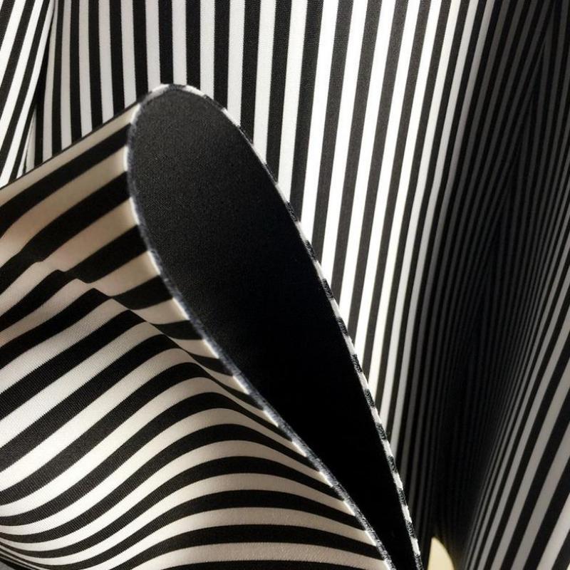 2019 юбка миди, черно-белая юбка в Вертикальную Полоску, юбка-пачка, Хлопковая женская осенняя и зимняя юбка, бесплатная доставка