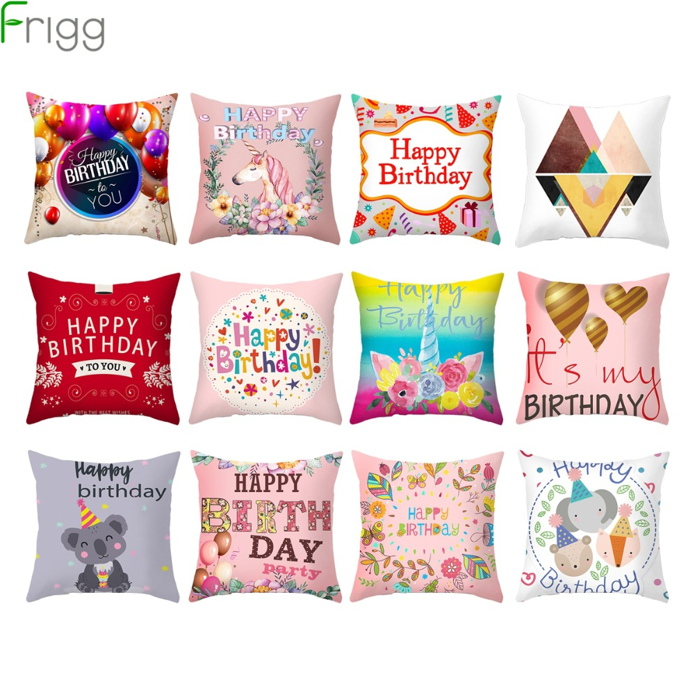 Frigg Happy Birthday Unicorn Cushion Cover Birthday Party Home Decor Pillow Case Sofa Throw Pillowcase Kids Gift Back Cushion in Cushion Cover from Home Garden