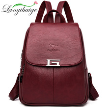 New 2 Style Women Leather Backpacks Female Vintage Backpack