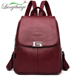 New 2 Style Women Leather Backpacks Female Vintage Backpack For Girls School Bag Travel Bagpack 2019 Ladies Sac A Dos Back Pack(China)
