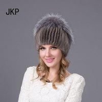 Russia winter hats for women genuine mink fur hat with whole silver fox fur top fashion beanies high end female cap DHY 19