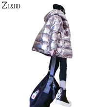 ZL&BD cazadoras mujer invierno 2018 Winter Women Thick Hood Jacket Metallic Color Sliver Padded Coat Femme Puffer Jacket ZA1110