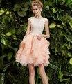 Rosa Vestidos de Coctel Corto Atractivo 2016 Con Cuentas de Cristal de Cóctel robe de Cocktail Party Dress Prom Vestidos vestido de festa curto