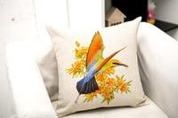 42x42cm zipper closure pillow Countryside flower&bird sofa cushion cotton linen Square pillow car cushion home decoration a0187