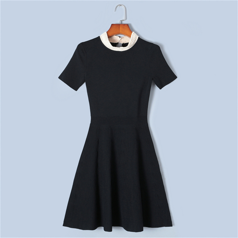 Tunjuefs Pearl Beading Hole Dress Runway Summer Female Robe Long Sleeve Dress Women Pullover Sweet Knit