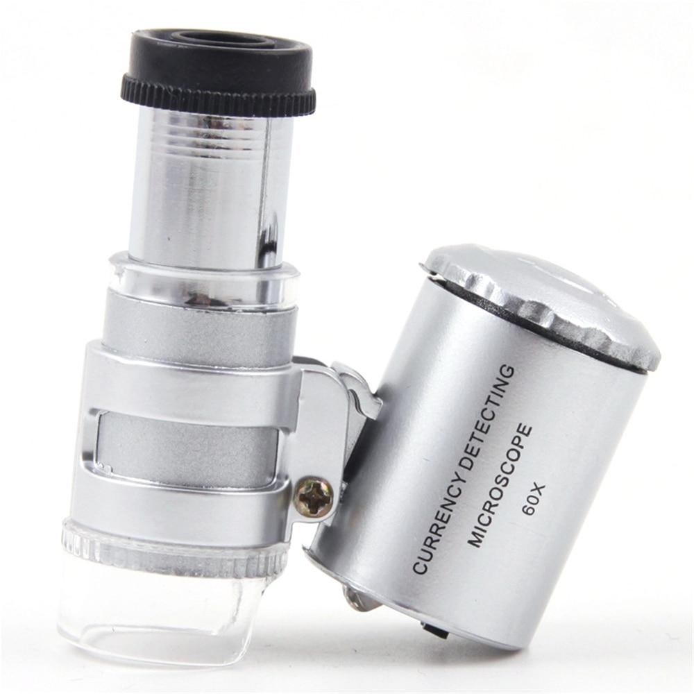 Новый 60X светодиодный мини профессиональный микроскоп vergrootglas карман Лупа Ручной ювелира банкноты инспекции светодиодный свет лампы невидн...