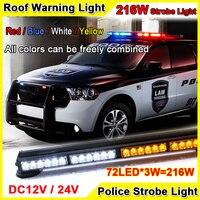 216W Super Bright Car Roof Led Strobe Lights Bar Police Emergency Warning Fireman Flash 12V 37.5'' Red Blue Led Police Lights