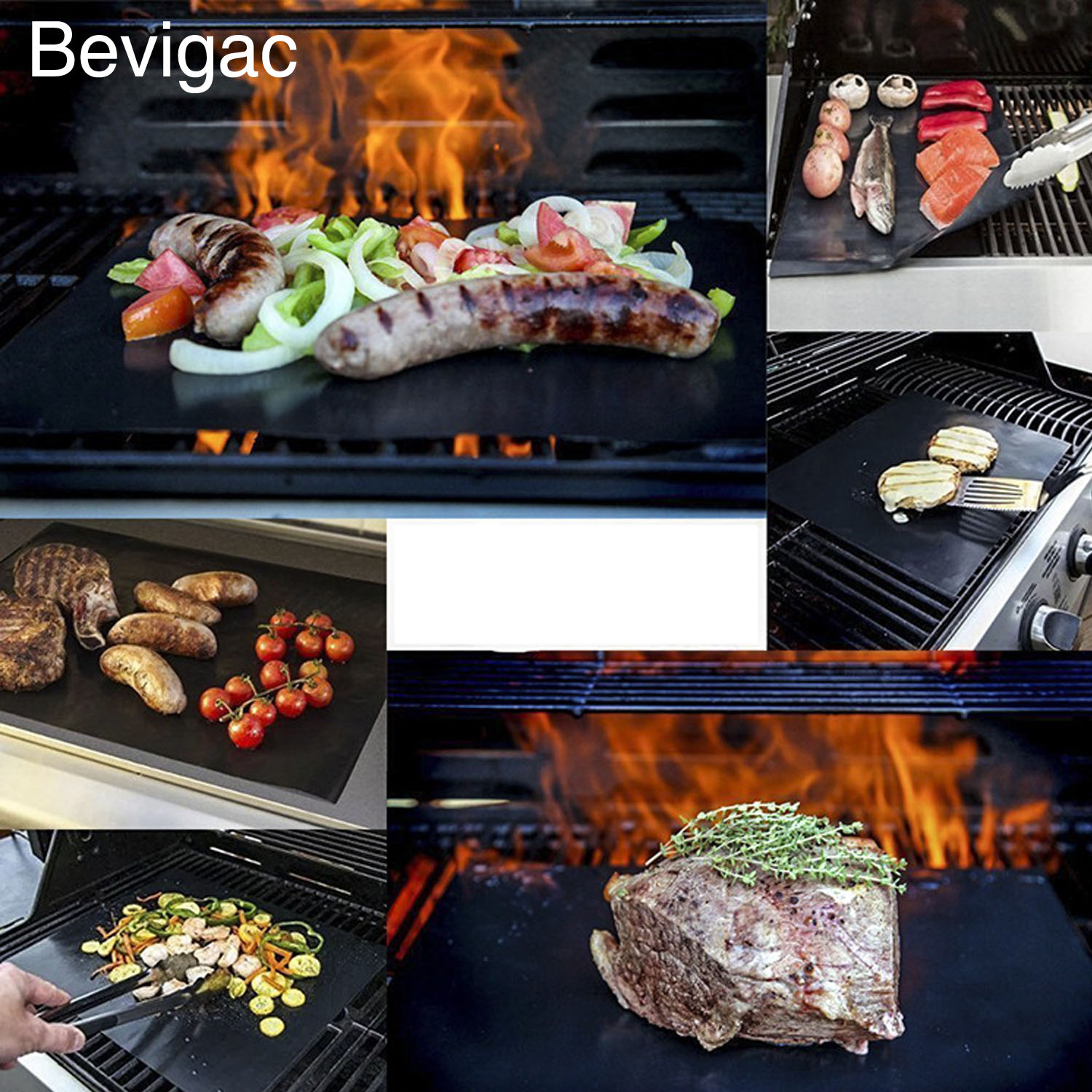 Behogar 2pcs Reusable BBQ Grill Mat Baking Easy Clean Mat Pads Grilling Fried Sheet Picnic Cooking Barbecue w/ Silicone Brush