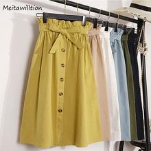 321215d2f Spring Autumn Skirts Womens 2018 New Midi Knee Length Korean Elegant Button  High Waist Skirt Female