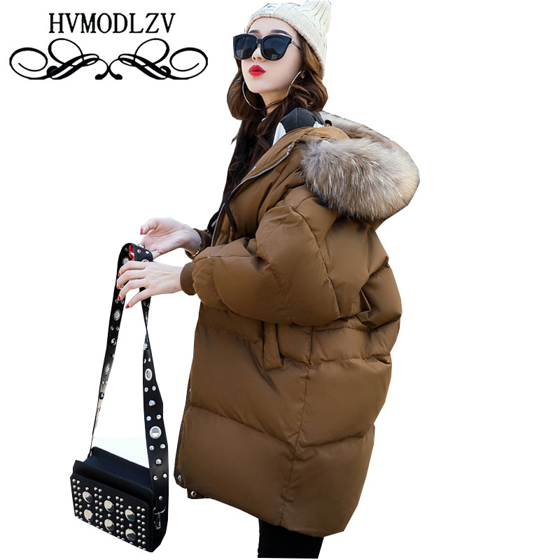 Hooded Fur Collar Autumn Winter Women Cotton Coat Parka 2017 New Plus size Warm Female Jacket High Quality Femme Outerwear L658 zoe saldana 2017 winter women coat long cotton jacket fur collar hooded letter print outerwear femme casual parka
