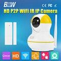 BW Мини IP Камера + Датчик Двери P2P 720 P HD IR-Cut ночного Видения 3.6 мм Эндоскоп GSM Охранная Автоматической Сигнализации Видеонаблюдения P/T