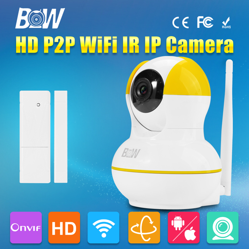 ФОТО BW Mini IP Camera + Door Sensor P2P 720P HD IR-Cut Night Vision 3.6mm Endoscope GSM Burglar Automatic Alarm Security CCTV P/T