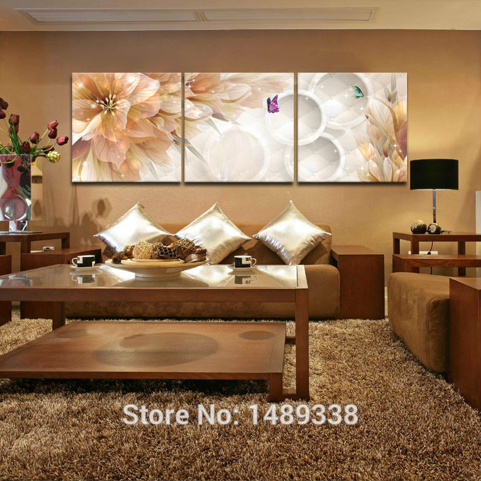 3 Panel Flower Home Decoration Living Room Wall Painting HD Wall Art Picture On Canvas Prints Decor Pictures Paints Framed GA726