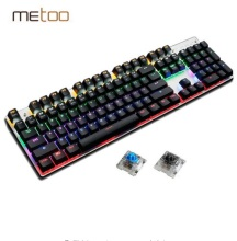 Metoo Gaming Mechanical keyboard 87/104  key Anti-ghosting Luminous Blue RED switches Backlit  Wired keyboard Russian Stickers