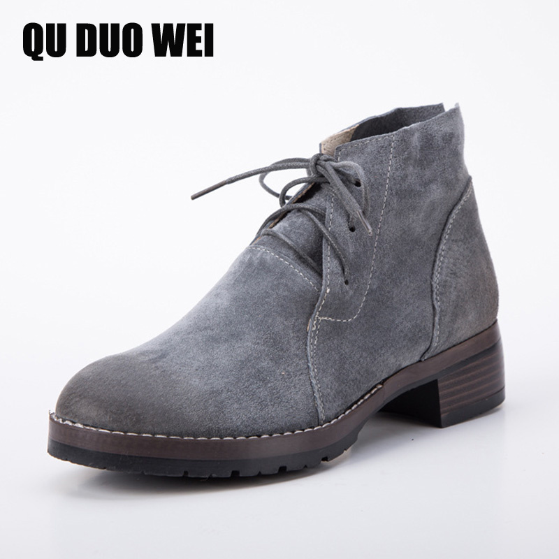 QUDUOWEI Women's Boots Pigskin Short Plush 100% Genuine Leather Woman Ankle Boots Rubber Sole Warm Winter Snow Boots Shoes