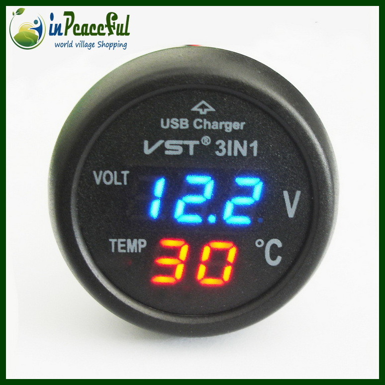 12v 24v digital auto car thermometer car battery voltmeter voltage meter car mounted usb. Black Bedroom Furniture Sets. Home Design Ideas
